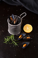 Fresh cooked mussels with Lemon and salt