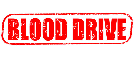 blood drive stamp on white background.