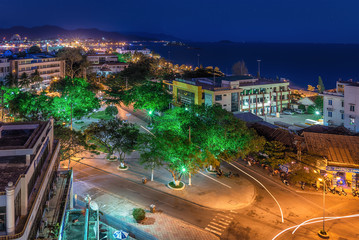 Vietnam, Nha Trang. May 2, 2015. The lights of the city at night. View from above.
