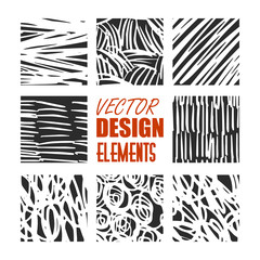 Hand drawn textures and brushes. Artistic collection of design elements: brush strokes, paint dabs, abstract backgrounds, patterns made with ink. Isolated vector.