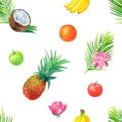 Watercolor tropical seamless pattern with tropical fruit, pineapple, bananas, oranges, apples, red and green, palm leaves, lotus flower on white background, watercolor painting, realistic illustration