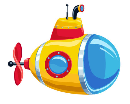 Cartoon yellow and red submarine