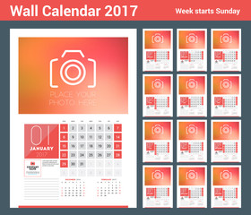 Wall calendar planner print template for 2017 year. Calendar poster with place for photo. 3 Months on page. Week starts Sunday