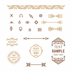 Set of Line Art Decorative Geometric Vector Frames and Borders in Brown. Vector Ornaments, Vector Decoration, Line Ornament, Vector Logos, Vector Labels. 19th century petroglyph, viking, slavic style.