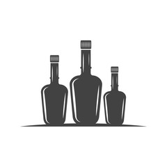Three bottles with cork. Black icon, logo element, flat vector illustration isolated on white background.