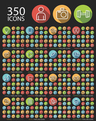 Set of 350 Universal Flat Minimalistic Elegant Standard Thin Line Icons on Circular Colored Buttons on Black Background.