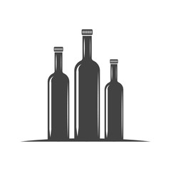 Three bottles for oil with screw cap. Black icon, logo element, flat vector illustration isolated on white background.