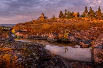 Dawn at Esusaret Island, Ladoga Lake, Karelia, Russia
