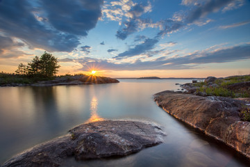 Sunset at Ladoga Lake in Karelia, Russia