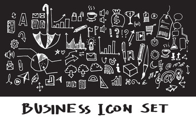 Hand drawn business icon set Chalkboard. Vector illustration eps