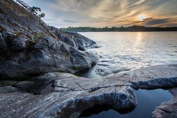 Stones at Ladoga Lake in Karelia