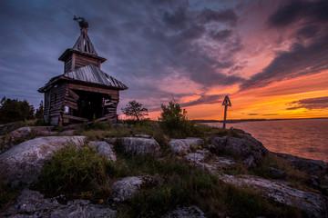 Broken church at Ladoga Lake, Karelia, Russia