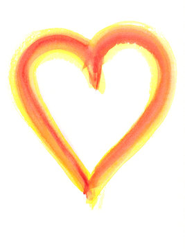 Red and yellow heart shape watercolor painting