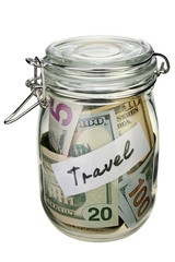 Travel budget - vacation money savings in a glass