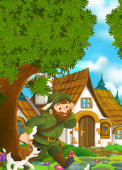 Cartoon background of an old house in the forest - forester with his dog coming to traditional house - illustration for the children