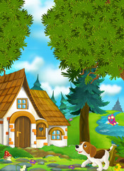 Cartoon background of an old house in the forest - illustration for the children