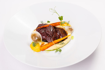 Meat dish on white background