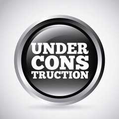 under construction silver button isolated icon design