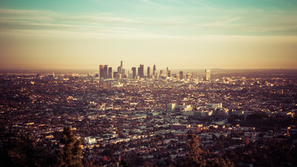 Los Angeles skyline at the sunset