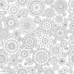 Ethnic floral mandalas, doodle background circles in vector. Seamless pattern.