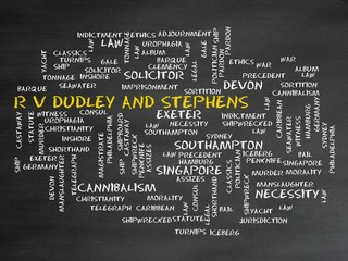 r v dudley and stephens R v dudley and stephens (1884) 14 qbd 273 the two defendants became shipwrecked by a storm they were forced to abandon their ship and were stranded in a small emergency boat with two others including a young cabin boy.