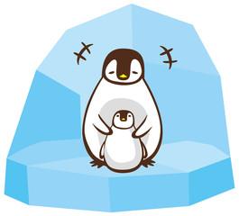 ペンギンの親子イメージイラスト