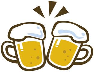 ビールジョッキで乾杯するイメージイラスト
