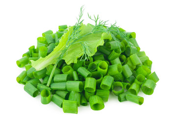 chopped green onions with lettuce, dill