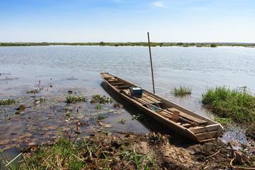 Fishery boat float beside lakeside