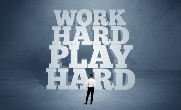 Hard working motivation for business person
