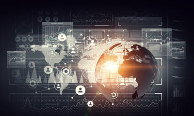 Network community concept . Mixed media