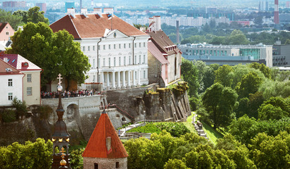 Wall Mural - Old Tallinn. Estonia. View to toompea buildings from Oleviste church in summer