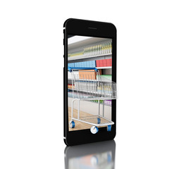 3d Trolley with grocery shop in smartphone. Shop online concept.