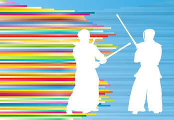 Kendo fighter vector background abstract illustration