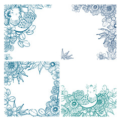 Collection of cards with doodle floral elements and birds