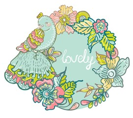 Floral Card with  bird