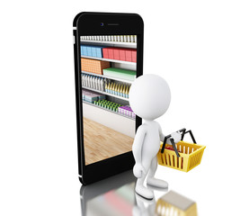 3d White people shopping with smartphone. Shop online concept.