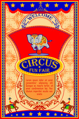 Vintage Circus Cartoon Poster Invitation for Party Carnival and Advertisment