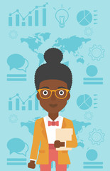 Successful business woman vector illustration.