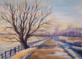 Winter landscape with tree close to the road.Picture created with watercolors.