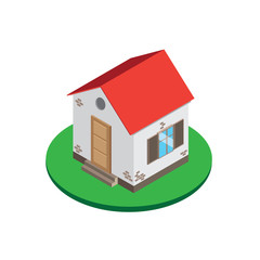 Isometric. house with a red roof