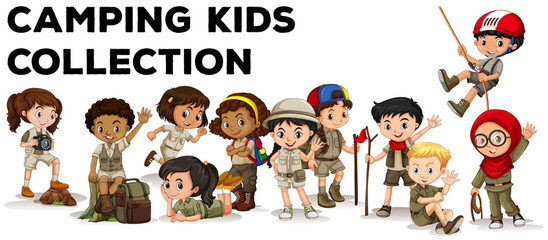 Children in camping outfit