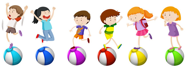 Boys and girls standing on ball