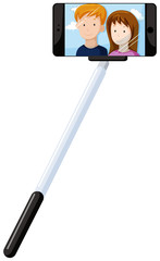 Selfie stick and mobile phone