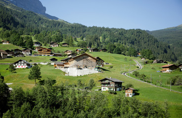 Village in the beautiful landscape of Alps near Grindelwald