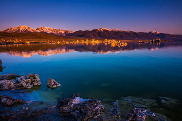 Sunrise at Mono Lake Sierra Nevada range in the background California Landscape USA
