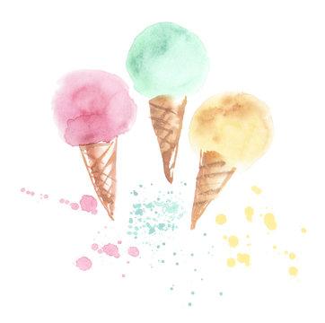 three pale color ice-cream cone illustration. watercolor artwork