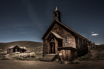 Old Wooden Chapel Bodie Mining Town Wall mural