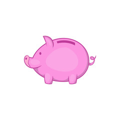 Pink piggy bank icon in cartoon style on a white background