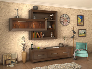 Living room modern style, 3d illustration